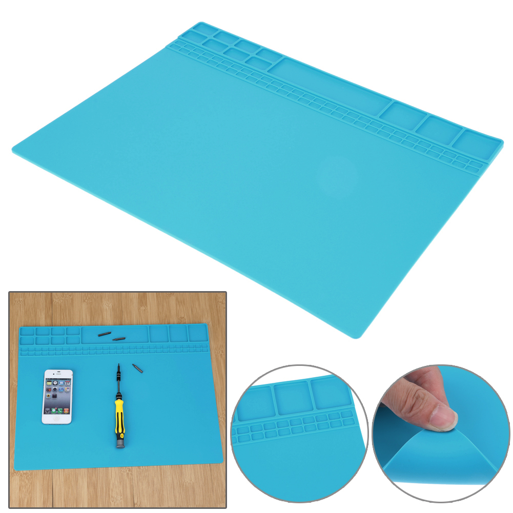 Soldering Iron Silicone Electronic Mat Heat Insulation Pad Soldering Station Desk Mat Maintenance Platform 405 X 305 mm diy silicone thermal pad heat conduct mat for heat sink grey 400mm x 200mm x 1mm