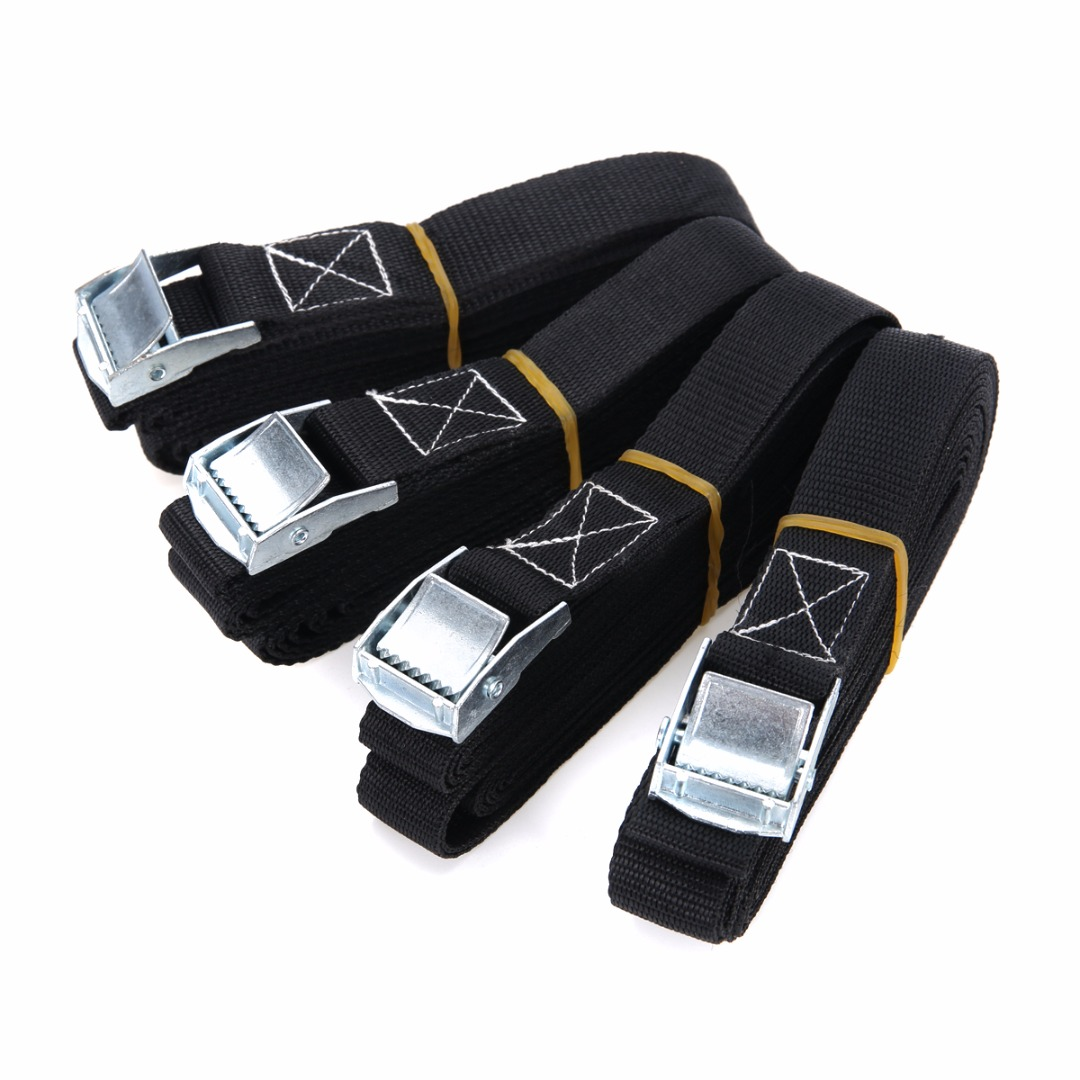 4pcs Cargo Tie Mayitr Porable Heavy Duty Tie Down Cargo Strap Luggage Lashing Strong Ratchet Belt With Metal Buckle 2.5x500cm ratchet tie down 5mx25mm metal buckle ratchet tie down strap 10m length