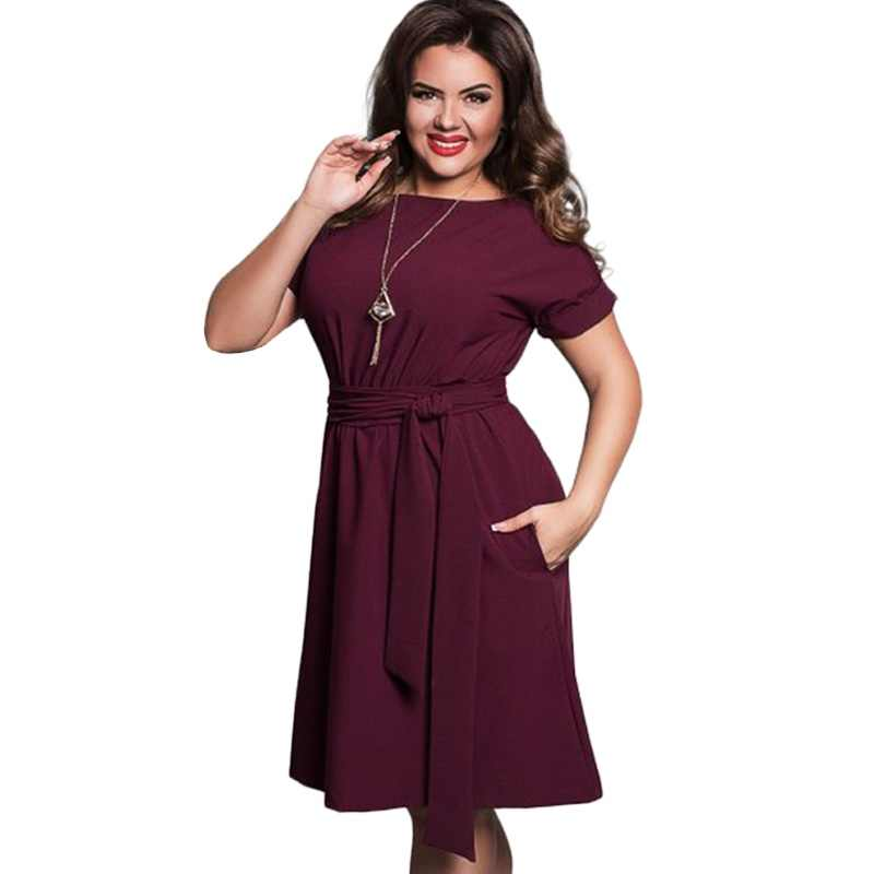 Summer Dress Big Size Office Dress Blue Red Green Dresses Plus Size Women Clothing With Belt Vestidos 5XL 6XL Large Size