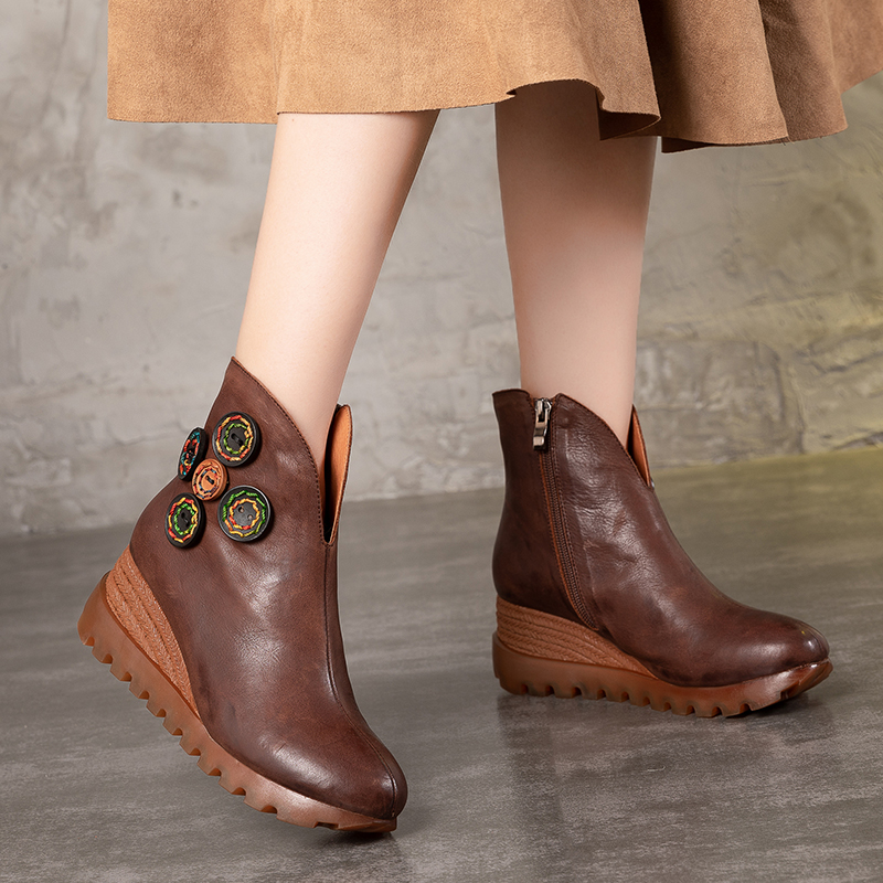 New Womens Shoes Colorful Stitch Button Design Hot Sale Lady Wedge Booties Natural Leather Vintage Factory Female Platform BootNew Womens Shoes Colorful Stitch Button Design Hot Sale Lady Wedge Booties Natural Leather Vintage Factory Female Platform Boot