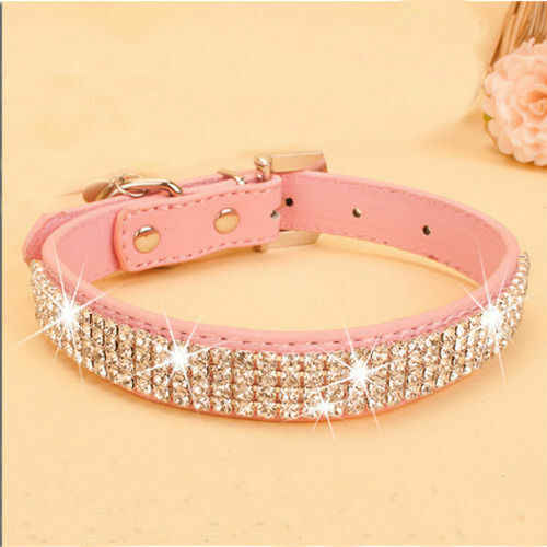 Pets Collar HOT Rhinestone PU Leather Crystal Diamond Puppy Collar Pink Red Pet Dog Collars