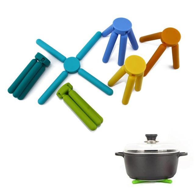 Arsmundi 5pcs/set Kitchen Foldable Silicone Trivets Expandable Dish Mat  Collapsible Insulated Pot Pad