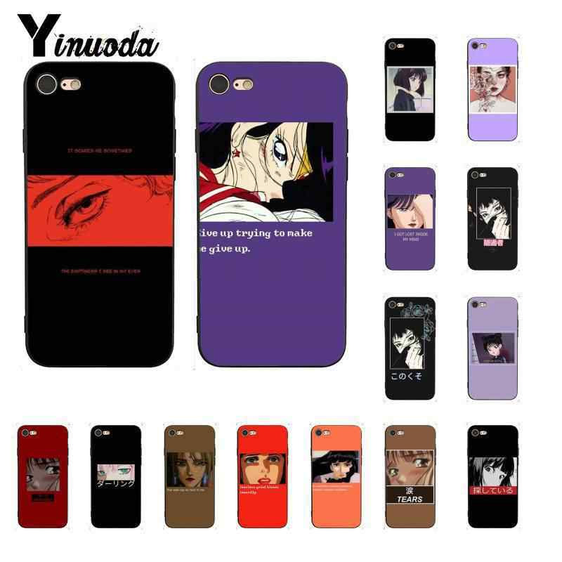 Yinuoda Beautiful eyes of cartoon anime girl TPU black Phone Case Shell for iPhone X XS MAX  6 6s 7 7plus 8 8Plus 5 5S SE XR