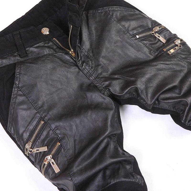 Fermeture En New Punk Plus Fraîches 33 Éclair 34 Slim Pantalons Taille Hommes Cuir Noir Coréenne Rock 32 Skinny 36 S0tndSq