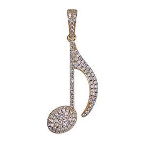 Image 2 - TOPGRILLZ ヒップホップ音符ペンダントネックレス銅金銀色立方男性女性ジュエリーギフトロープチェーン