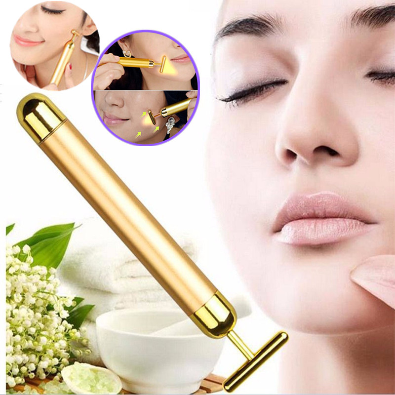 Slimming Face 24k Gold Vibrator Facial Beauty Roller Massager Stick Face Lifting Skin Tightening Anti-wrinkle Bar Face Skincare healthsweet 24k gold mini massage device electric eye massager facial vibration thin face magic stick anti bag pouch wrinkle pen