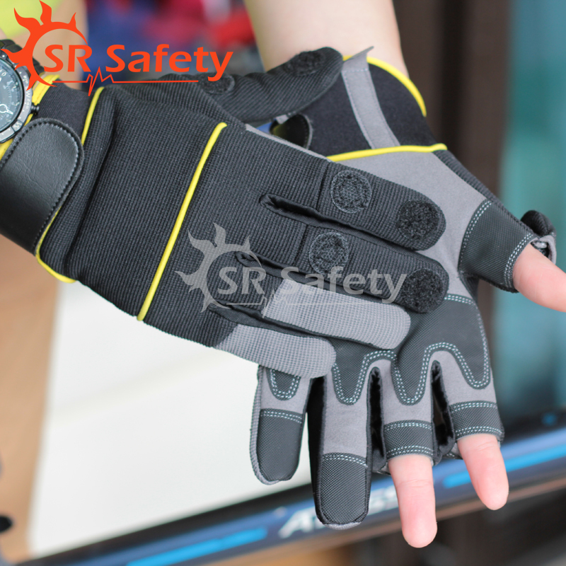 Srsafety 4 pairs New High Quality fish glove Sports Half Finger Glove Free Shipping