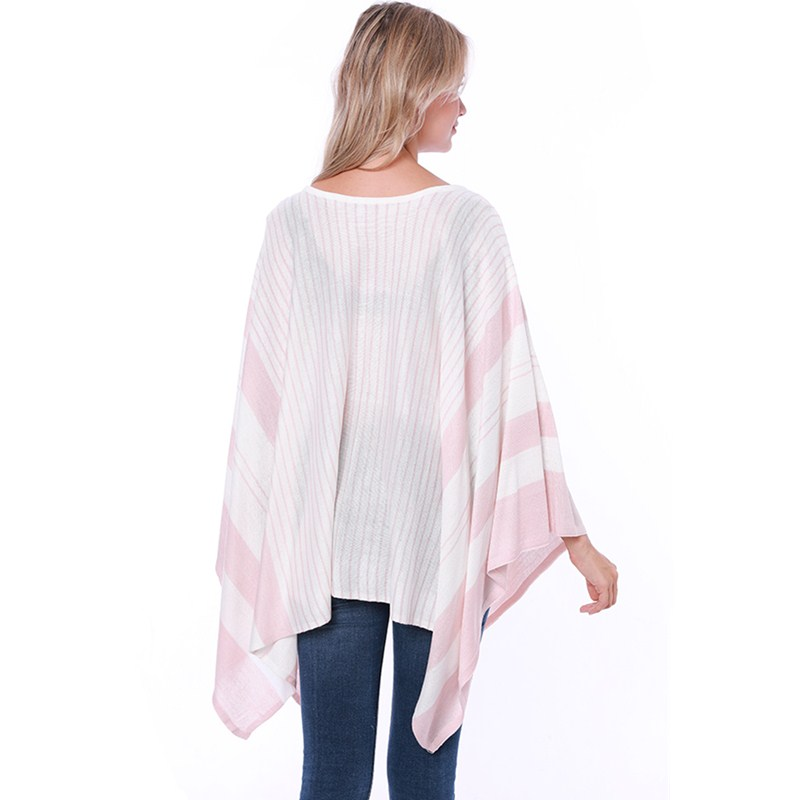 New Autumn Style Woman Fashion Poncho Bouncy Sweater Plus Size Pullover Women Shawl Stripe Poncho For Lady Coat in Pullovers from Women 39 s Clothing