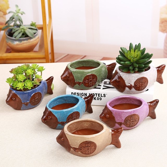 GQIYIBBEI Small Fish Flowerpot Decorative Small Ceramic ice-cracked Flowerpot Potted Garden Table multi-meat Plant Potted Pot