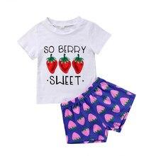 cadb5511deb00 2 PCS Doux Bébé Fille Cerise Vêtements Enfant Enfants t-shirt Top + Shorts  Pantalon Tenues Ensemble