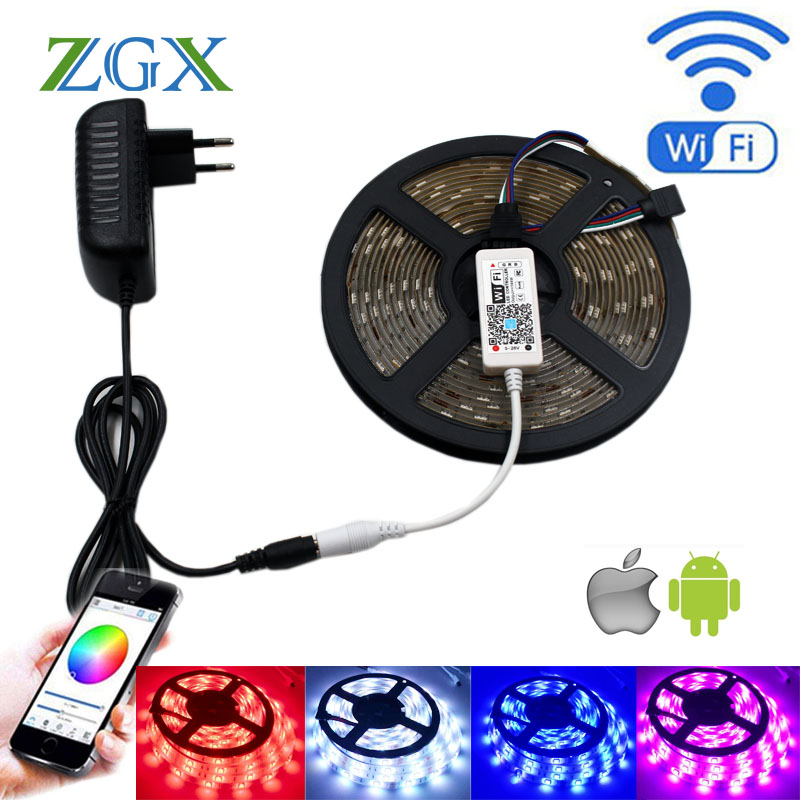 ZGX Wifi Controller SMD 5050 RGB LED Strip light lamp 5M 10M 15M Flexible Tape diode ribbon Waterproof DC 12V AU UK adapter set rgb music sync led strip light smd 5050 5m 60led m no waterproof flexible tape diode ribbon controller 12v 3a adapter set lamp