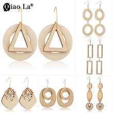 Qiao La Wood Pendant Earrings Vintage National Wind Geometric Regular Triangle Round Wood Pendant Earrings Wholesale Price national wind alloy jewelry round stone earrings