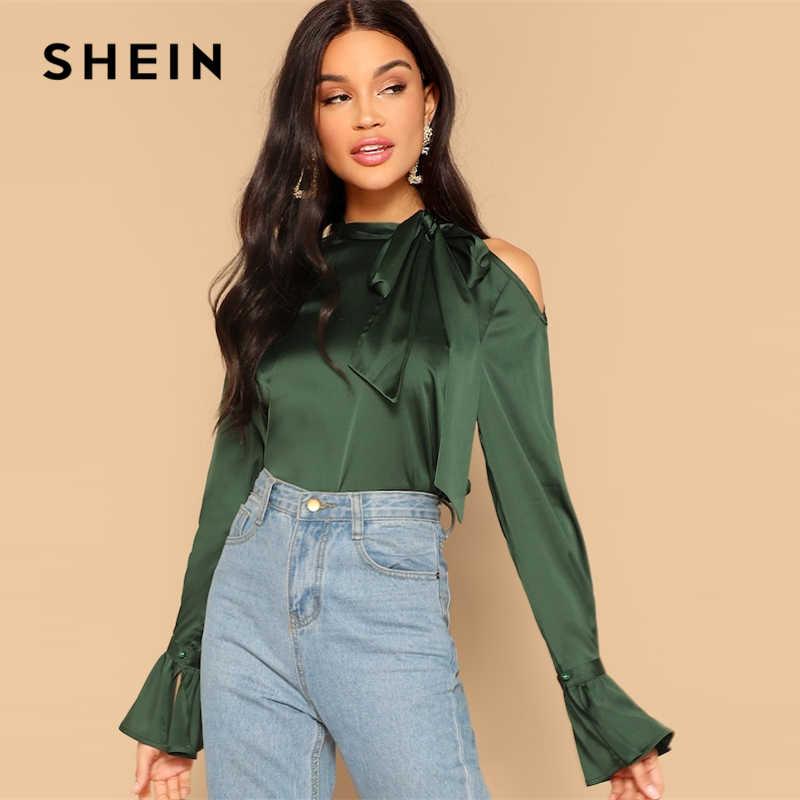 0a465d164d SHEIN Green Asymmetrical Shoulder Knot Bell Sleeve Shirt Blouse Cut Out  Stand Collar 2019 Spring Office