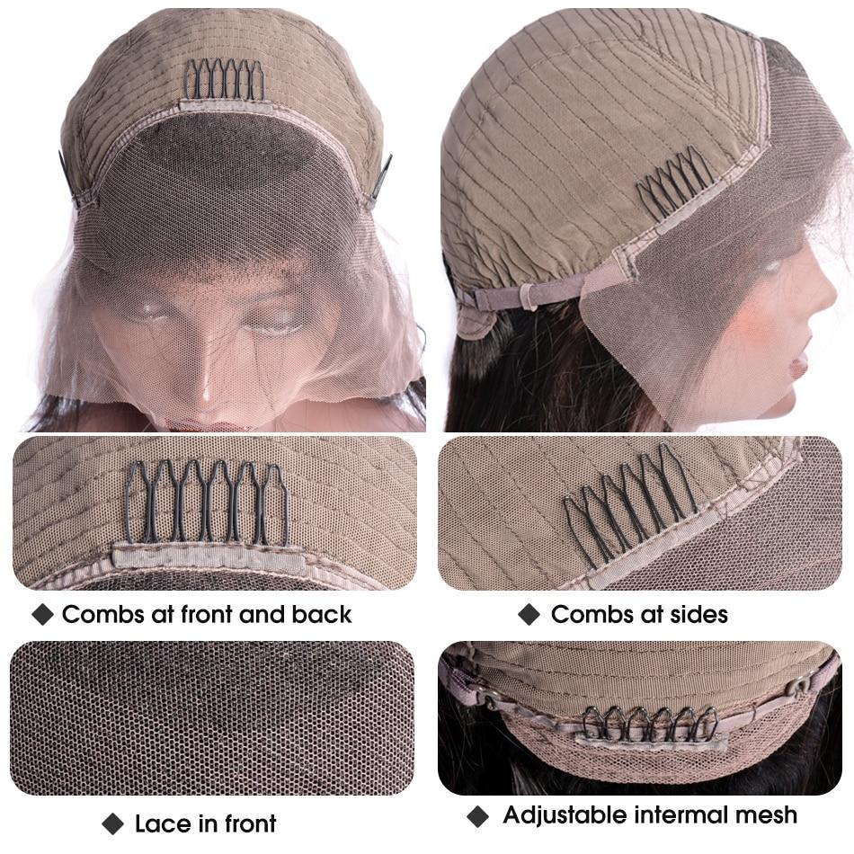 Peluca recta rizada 13x4 Peluca delantera de encaje de cabello humano - Cabello humano (negro) - foto 6