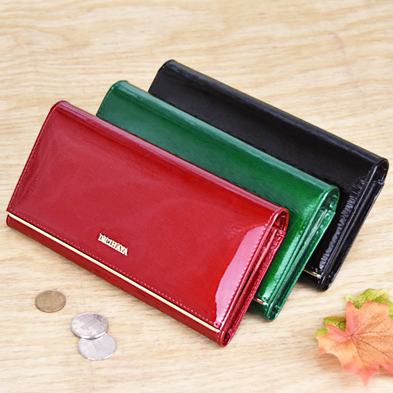 DICIHAYA Genuine Leather Women 39 s Wallets Patent Leather Long Ladies Wallets Clutch Design Purse Hand Bags Women Purses BC150 in Wallets from Luggage amp Bags
