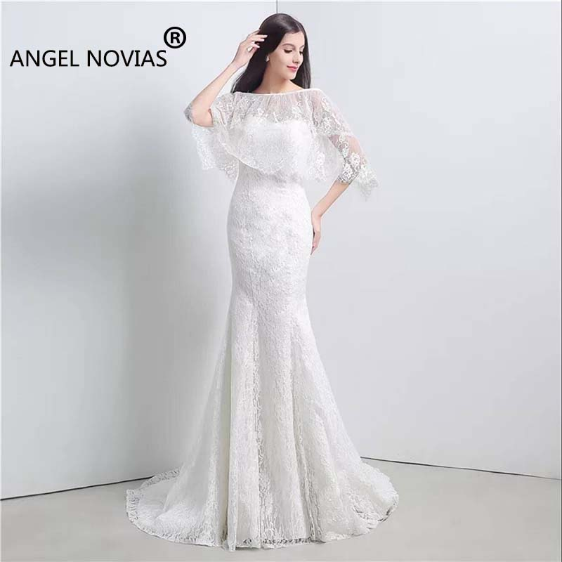 Detail Feedback Questions about ANGEL NOVIAS Real Picture Long Simple  Elegant Mermaid Lace Wedding Dresses 2018 with Bolero on Aliexpress.com  be262717847e