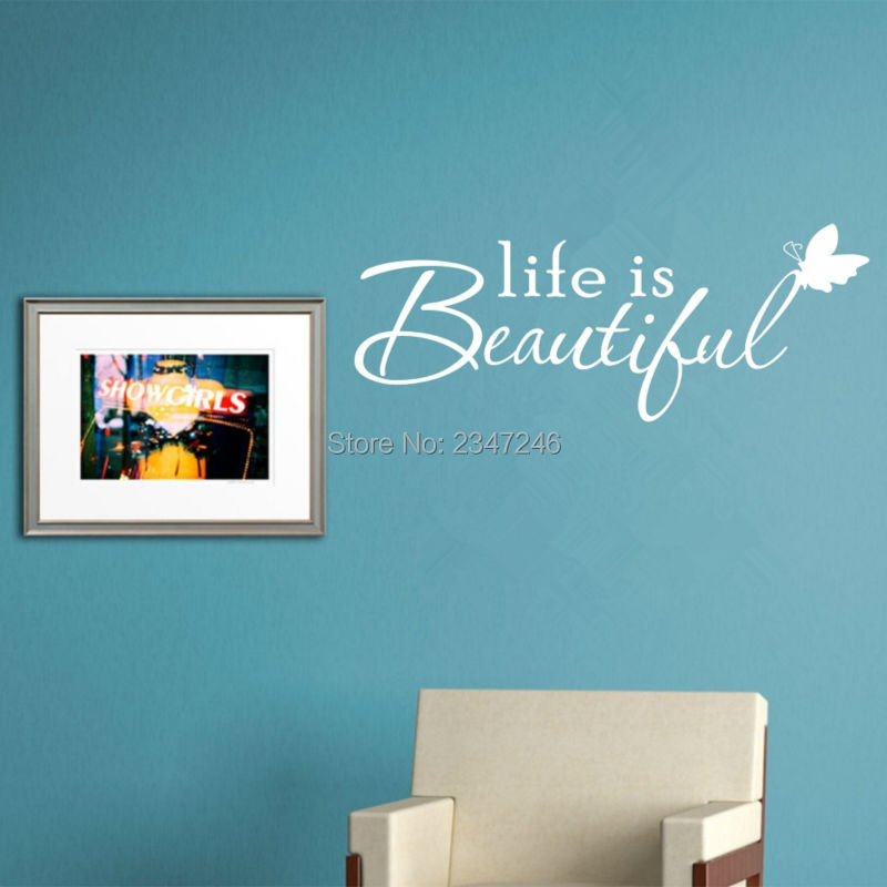 Butterfly lettering quotes wall decal life is beautiful for Life is good home decor