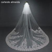 3M *3M Wedding Veil with Comb Lace Appliques Velos de novia 2018 Two Layers Luxury Bridal Veil Wedding Accessories