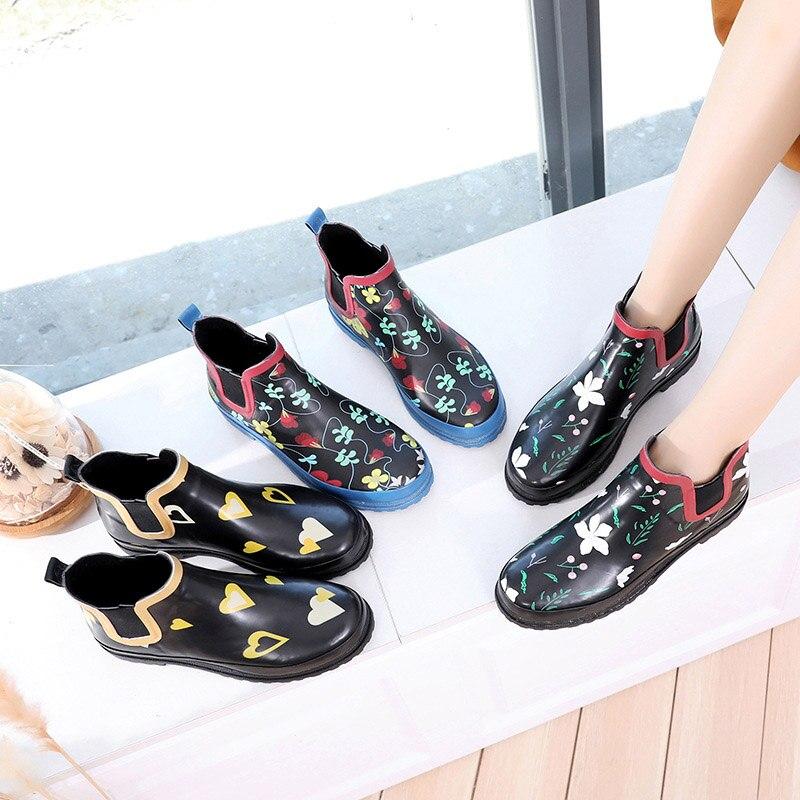 Terre étoile pluie bottes dame chaussure automne femme chaussures antidérapantes imperméables PVC eau chaussures fleurs