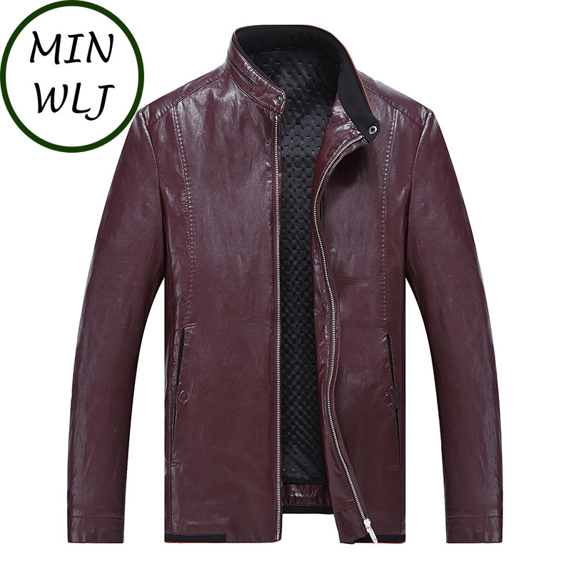 MINWLJ Plus Size 4XL 5XL 6XL 7XL 8XL Men PU Leather Jacket Autumn Spring Coat 180