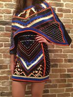 BEST QUALITY Newest 2018 BAROCCO Designer Dress Women's Batwing Sleeve Cape Heavy Beading Stretch Bodycon Dress