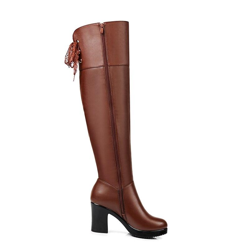 Zapatos Rodilla marrón Piel De Cuero Calientes Suave La Tacón Grueso Mujer Botas Alto Invierno Gktinoo Sobre Mujeres Negro Muslo f4dqwf