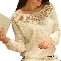 New 2016 Spring Women Long Sleeve Fashion Lace Floral Patchwork Blouse Shirts Hollow Out Diamonds Casual
