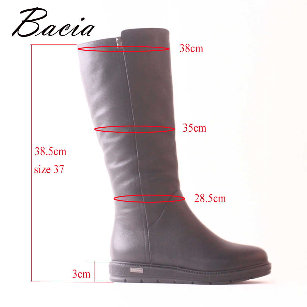 ... Bacia натуральная кожа коровы кожаные сапоги модные черные Для женщин  теплые зимние сапоги до колена ... 94e5e535d5e