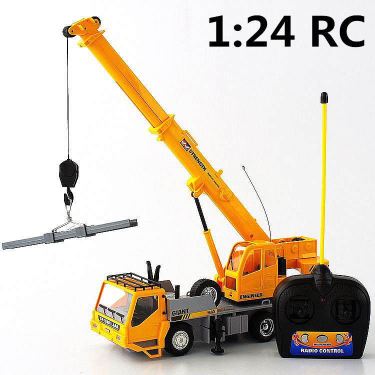 1:24 Remote control crane,Electric engineering vehicles,7-channel car,Wireless RC model toys,Oversized toy car,free shipping