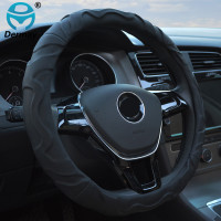 TOP QUALITY Dermay Sheepskin Leather CAR STEERING WHEEL COVER Black Color Soft Non Slip 38CM For Steering Wheel 14 15 95% Cars