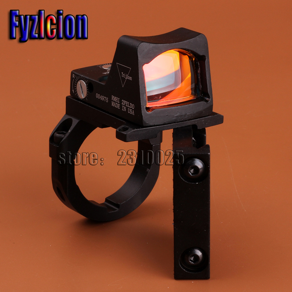 Fyzlicion Holographic Ultra Mini Small RMR Red Dot Sight 20mm Weaver Rail and RM38 Mount Base Ring For Hunting Airsoft mini rmr style 1x red dot sight scope for picatinny rail and glock base mount key switch 6 moa black m6293