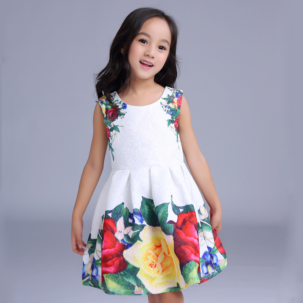 2016 Floral Printed Girls Dress Summer Princess Costume Brand Cute Kids Clothes Sleeveless Children Dress Toddler Girls Dresses  hssczl girls dress summer 2017 brand kids print floral sleeveless toddler girl children dress flowers fille costume clothes