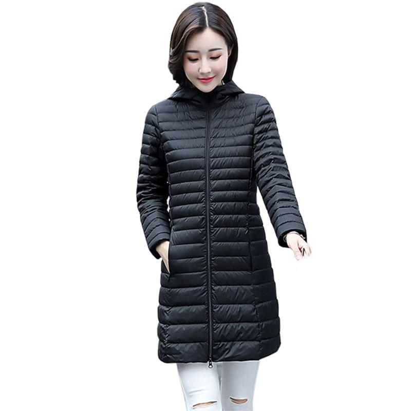 Long Down Jacket 2017 New Plus Size Hooded Ultra Thin Down Jacket Women Winter Duck Down Coat Female Overcoat FP0120