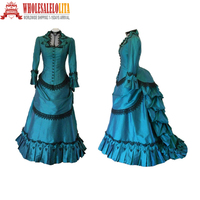 Free Shipping 18th Century French Noble Style Vintage Bustle Handmade Mermaid Victorian Dresses Party Dresses