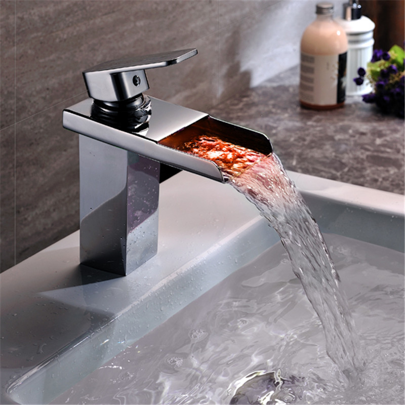 Led Bathroom Faucet Brass Chromed Waterfall Bathroom Basin Faucets 3Colors Change Led Tap Water Power Basin led Mixer Led Faucet yanksmart brand led faucet led bathroom basin faucet brass chromed led waterfall taps water power basin led tap mixer torneira