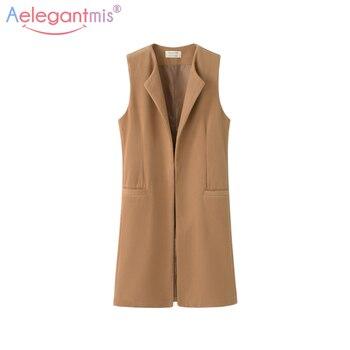 Women Autumn Spring Wool Blend Vest Waistcoat Lady Office Wear Long Waistcoat Women Coat Casual Sleeveless Vest Jacket Plus Size