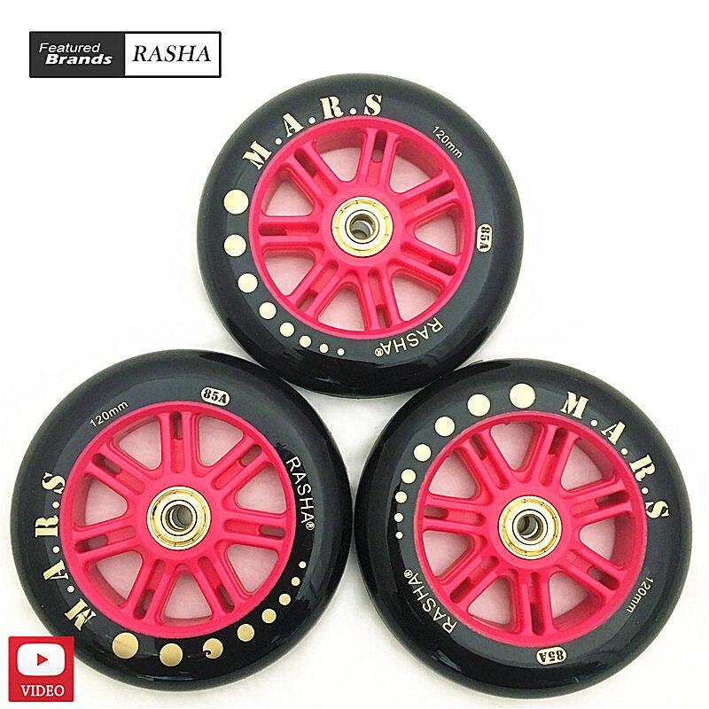 Prix pour Livraison gratuite RASHA de patinage chaussures roues 120mm 110mm 100mm formation spéciale roues 85A durable Pu roues avec d'or portant