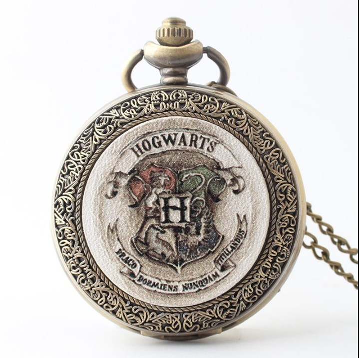Retro Harry Bronze Silver Shield Hogwarts School Of Witchcraft And Wizardry Pocket Watch Pendant Watches Gift