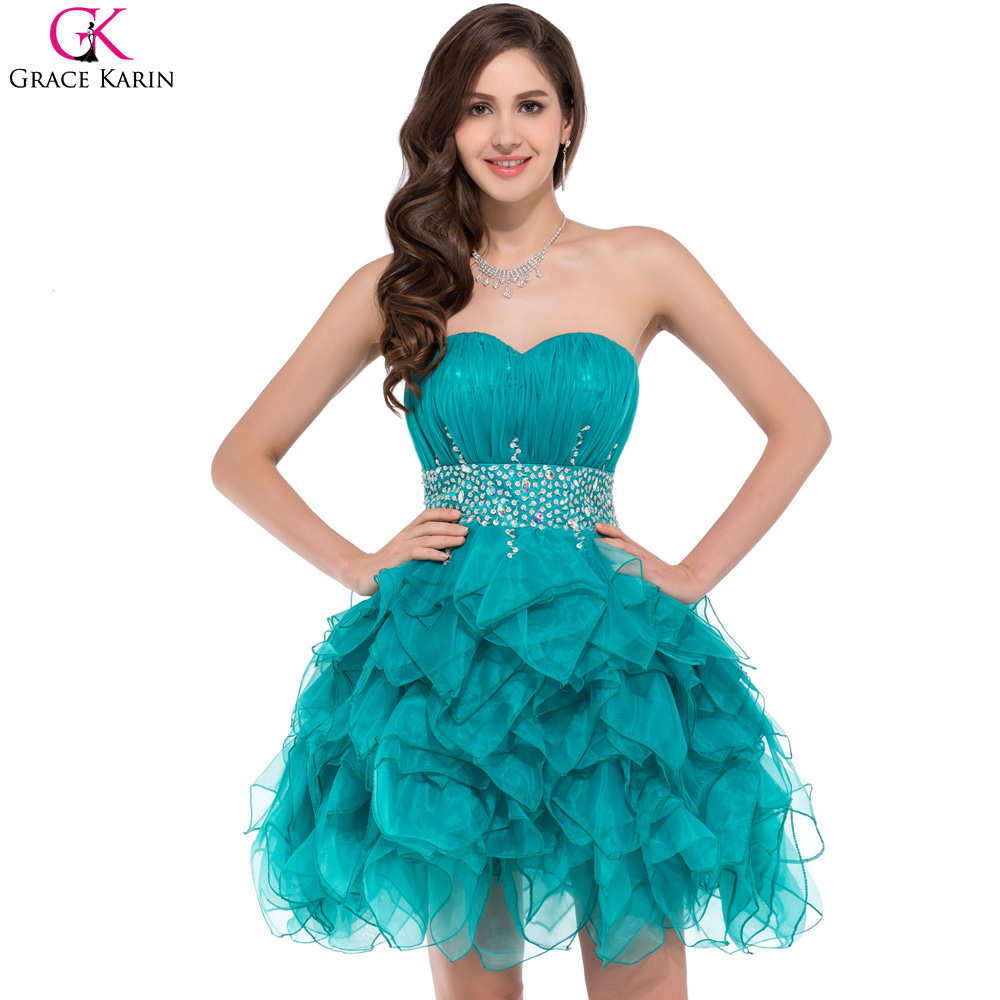 Turquoise Prom Dresses Grace Karin Voile Satin Sequin Beaded ...