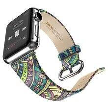 2016 новая мода природный весной группа для apple часы реального кожаный ремешок для я часы абстрактный замена официальный цвета горячая продажа
