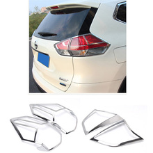 For Nissan X Trail 2014 2015 2016 2017 ABS Chrome Car Styling Tail Lights Cover Rear