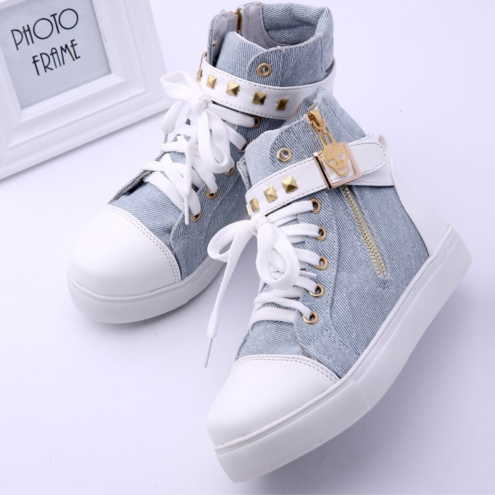 Koovan Women Sneakers Boots 2018 Spring Rivets High Help Canvas Shoes Female hook & loop Flats Casual Shoes For Women Zip Boots