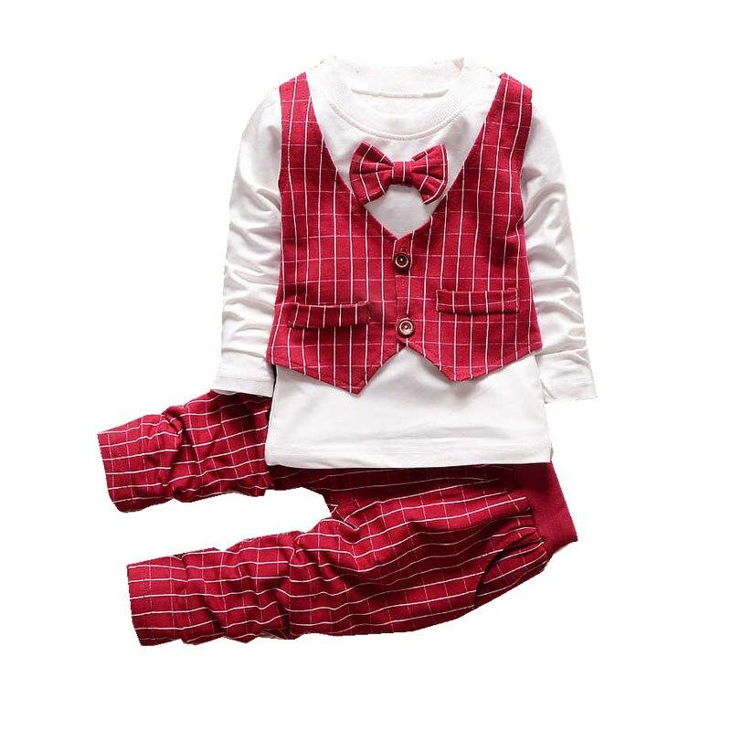Новый Демисезонный малышей Джентльмен комплект одежды для мальчиков полосатый жилет + футболки + брюки комплект одежды из 3 предметов детск...
