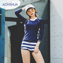 Aonihua Two Piece Swimsuit With Shorts Swimming Women Swimwear Long Sleeve Top Stripes Design