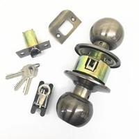 170mm Bronze Stainless Steel Round Door Handle Passage Lock Knob Ball Set With Key Bathroom Easy
