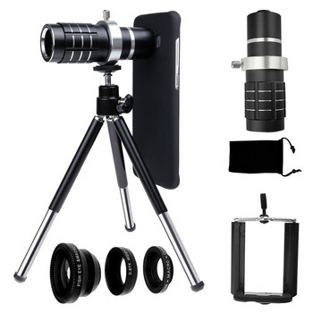 Camera Photo Kit-12x Zoom Lens+Accessories+Fisheye+2 in1 Macro&Wide Angle Lens For Samsung Galaxy S9 PLUS/For Iphone 5 SE 5S