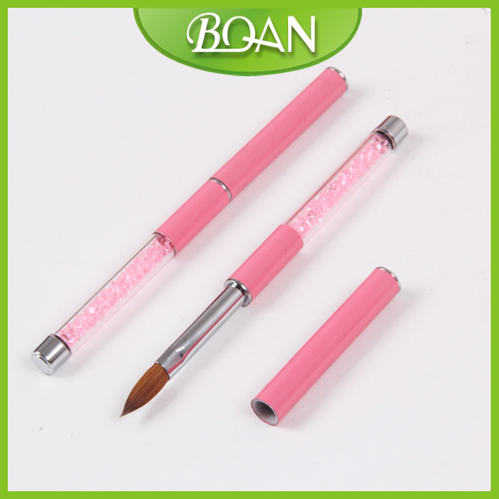 BQAN 2015 Best Seller Pink Rhinestone Handle Kolinsky Acrylic Nail Brush