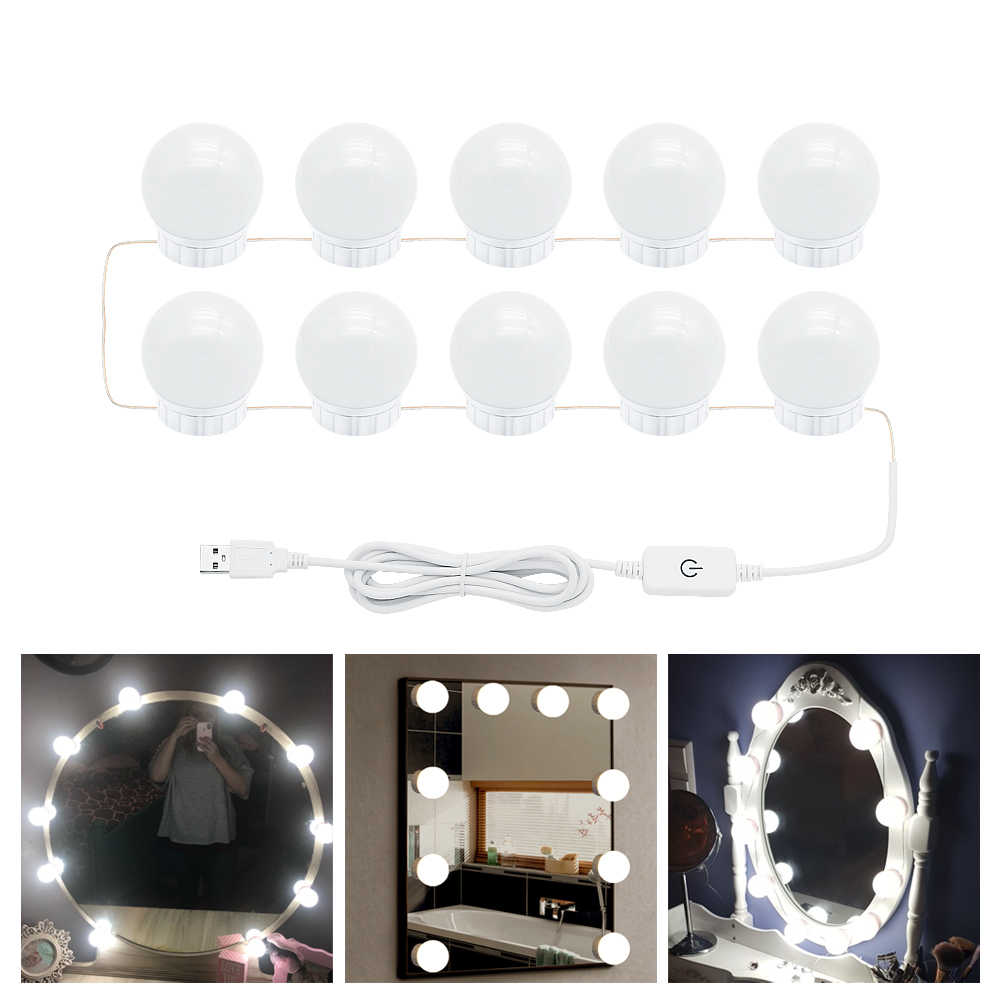 USB Port Makeup Mirror Light Bulb 6 10 14Bulbs Kit Hollywood Vanity White Lights Dimmable LED Wall Lamp for Dressing Table
