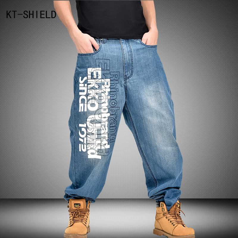 Streetwear Brand Men Clothing Letters Pattern Hip Hop Mens Blue Baggy biker Jeans Skateboard denim overalls
