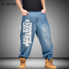 printed Jeans Brand Men Clothing Letters Pattern Hip Hop Mens Blue Baggy biker Vaqueros Hombre Skateboard